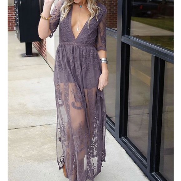 3212549ecb6 Lace Overlay Romper Maxi Dress. M 5a97c7915521be9078784c20